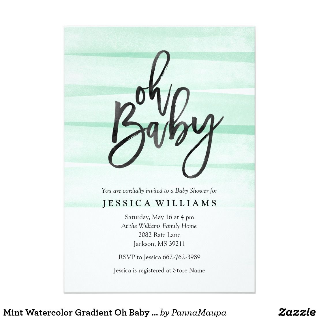 Mint Watercolor Gradient Oh Baby Shower Invitation Modern trendy ...