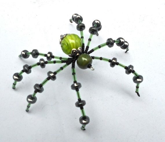 Emerald Eddie - Beaded Spider in Shades of Green - Halloween Decor, Gift Ideas, Accessories, Unique Home Decor
