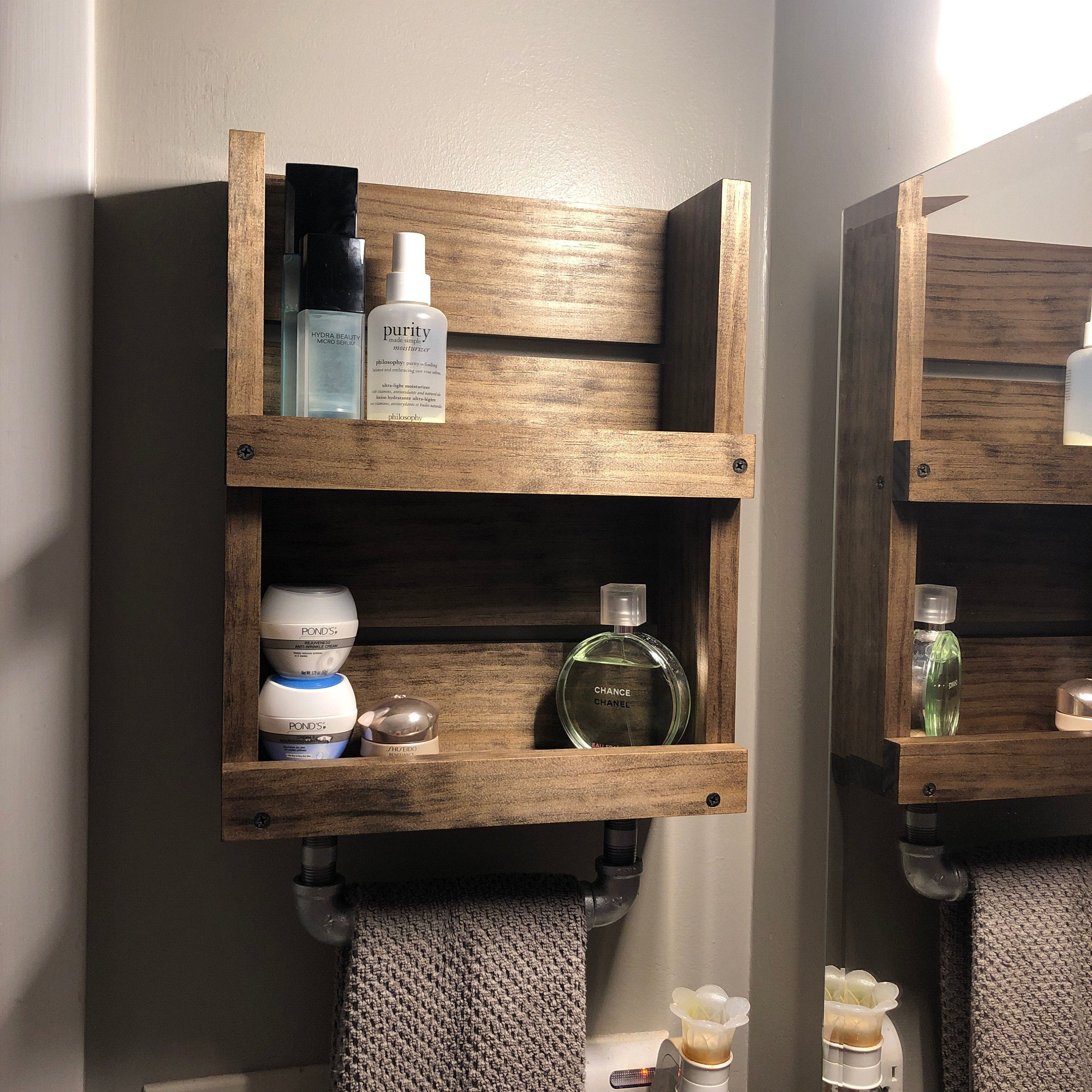 Bathroom Wall Shelf With Towel Bar Wall Mounted Small Shelf Etsy Wall Mounted Bathroom Storage Bathroom Wood Shelves Wall Mounted Shelves
