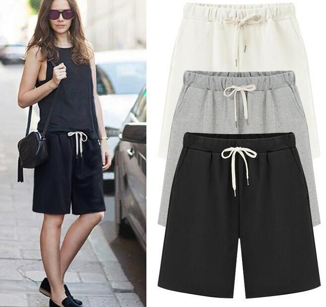 9f7bb9de03c M-6Xl Womens Girl Cotton Casual Sport Cargo Shorts Loose Running Pants Plus  Size