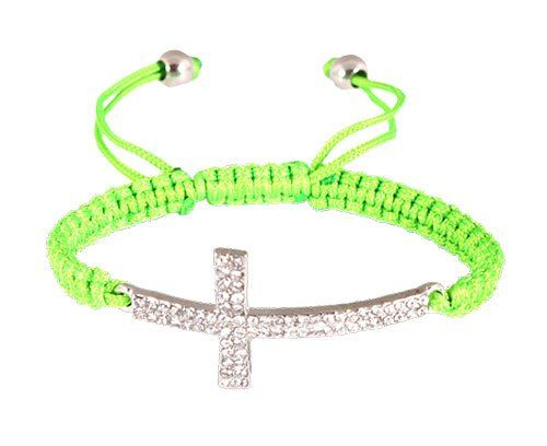 75% Off was $7.95, now is $1.95! Green Lace Style Iced Out Cross Bracelet with Beaded Disco Balls Macrame Shamballah