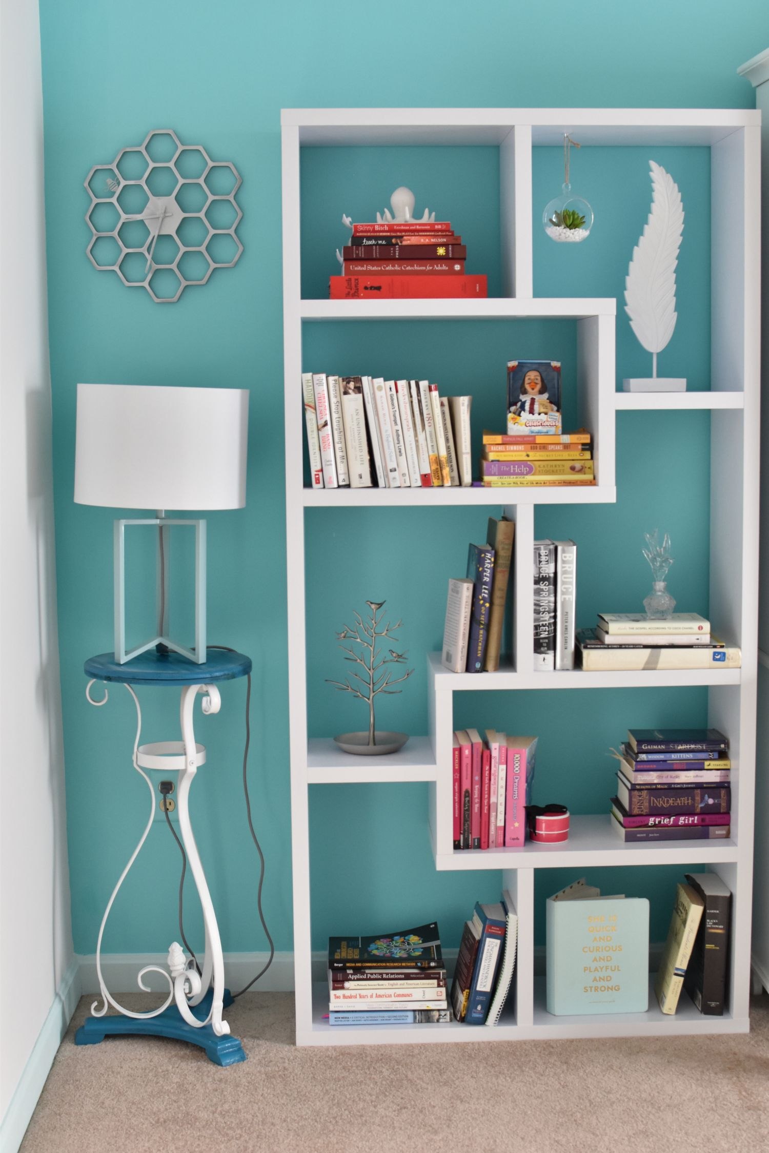 organize home office deco. Honeycomb Clock, Bookshelf Staging, Organization, Blue Accent Wall, Home Office Organization Organize Deco N