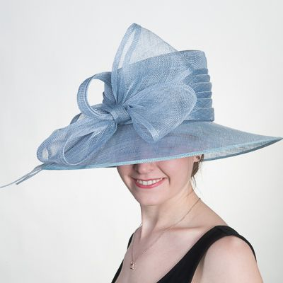 e2fb70bb4ed Dusty Blue Wide Brimmed Bow Sinamay Hats