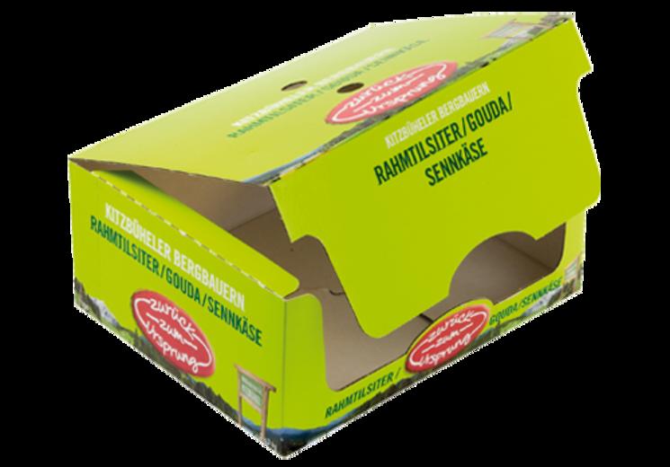 #Regalkarton mit anhängendem Deckel • Einteiliger #Regalkarton durchgängig auf das #Corporate Design des Kunden abgestimmt. • Breite, frontseitige Entnahmeöffnung • #Dinkhauser Kartonagen, #Lebensmittelverpackungen