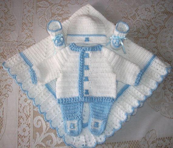 Bébé garçon bleu et blanc au Crochet Layette pull Set Leggings ...