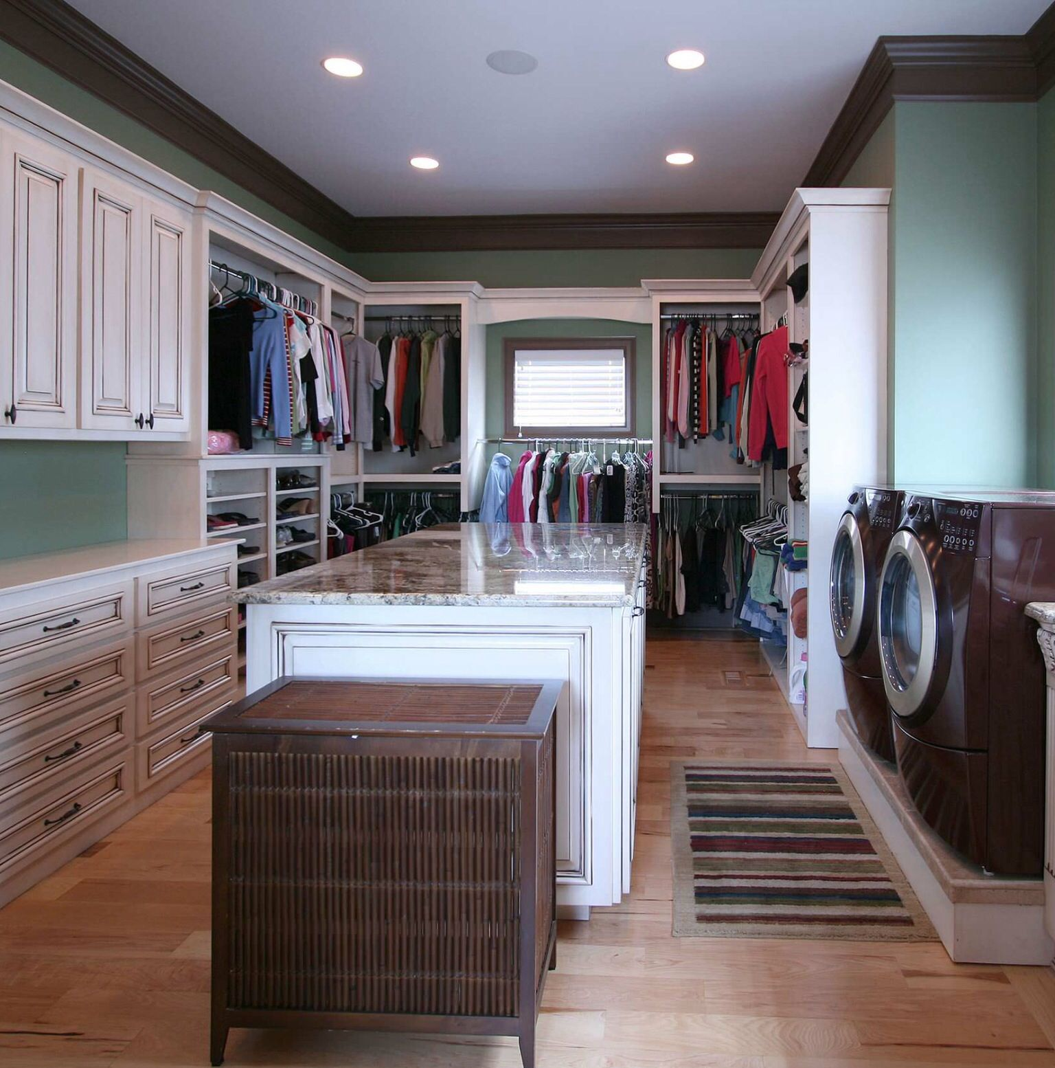I Love The Washer And Dryer In The Master Bedroom Closet Makes Perfect Sense Closet Bedroom Dream Laundry Room Family Closet