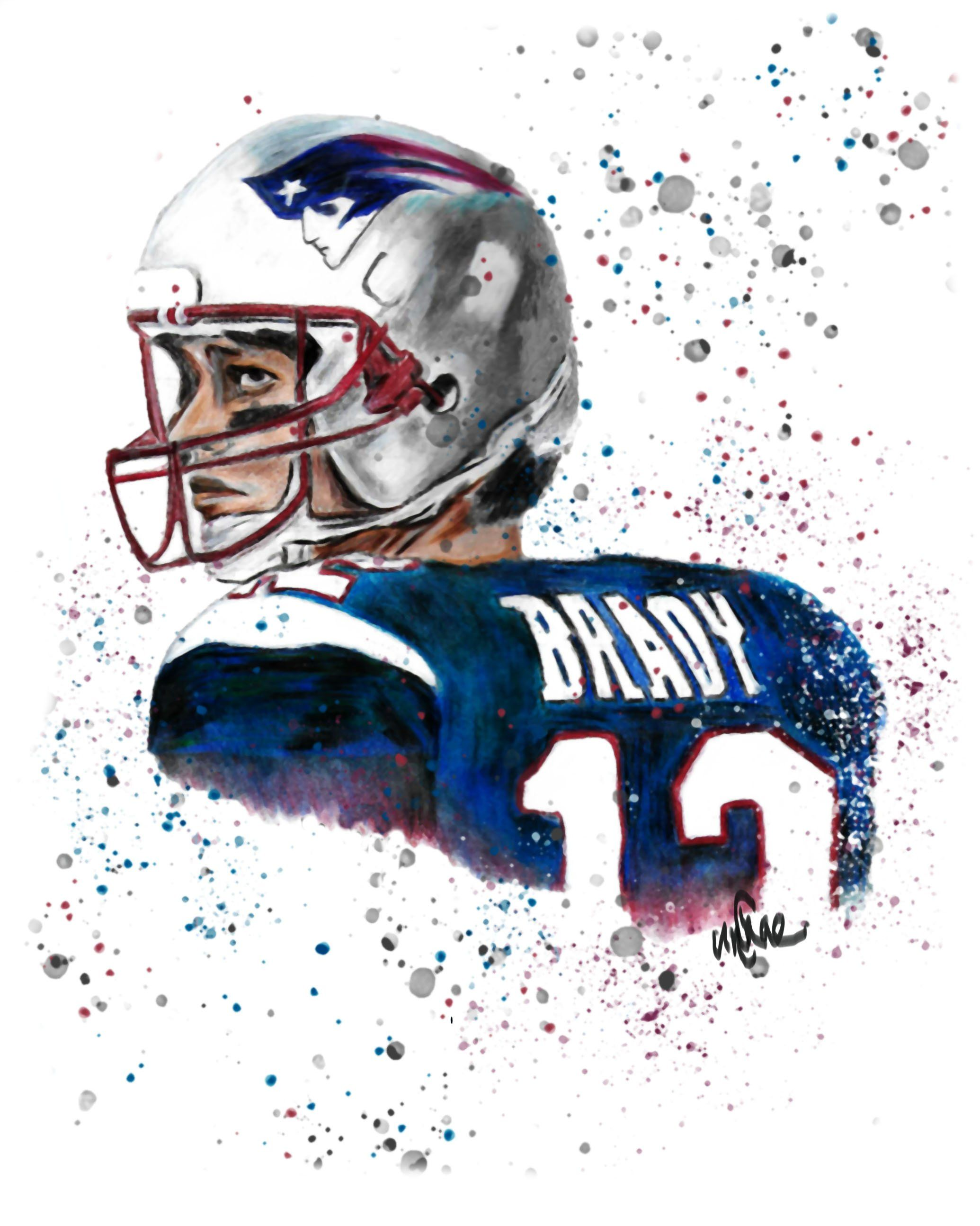 Tom Brady Patriots Art Print Football Quarterback Nfl Drawing Coloring Pencil Digital Goat Superb Tom Brady Patriots Superbowl Mvp Football