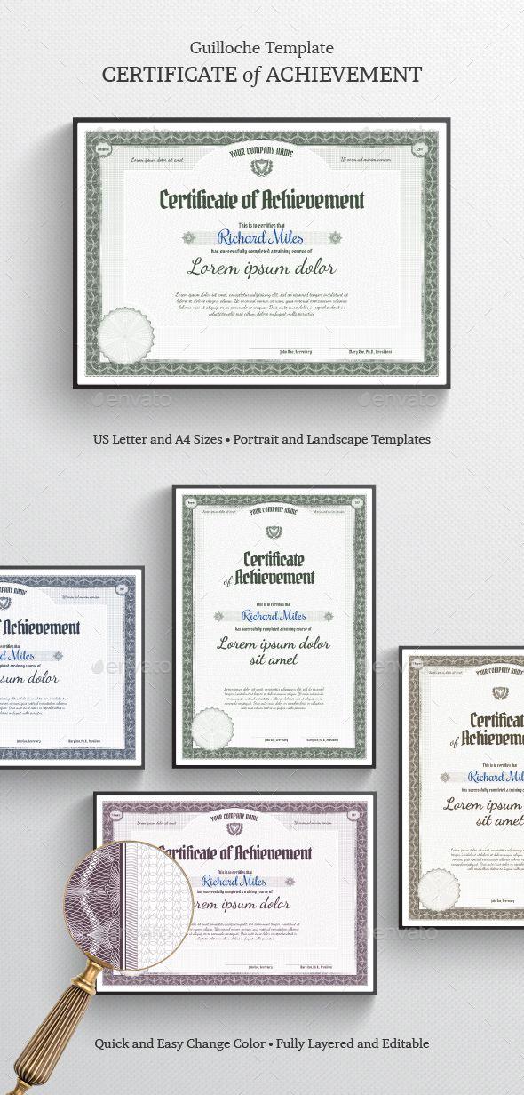 Certificate of Achievement Certificate, Certificate design and