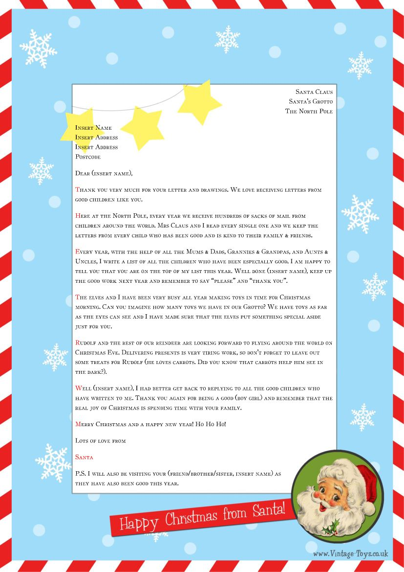 "Free ""Letter from Santa"" template for you to download and"