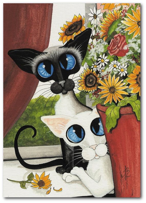 amylyn bihrle art | Siamese Cat Oriental White Window Flowers by AmyLynBihrle on…