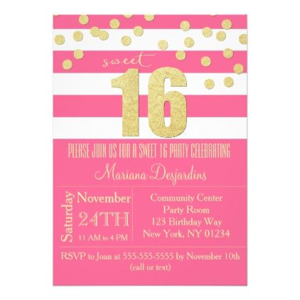 Pink Sweet 16 Birthday Party Invitation Gold | Zazzle.com #sweet16birthdayparty