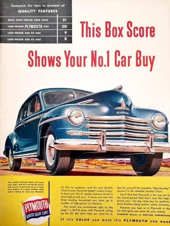1947 Plymouth Vintage Advertisement Antique Car Wall Art Classic Car Decor Original Magazine Print Ad Aut Classic Car Decor Classic Cars Automobile Advertising