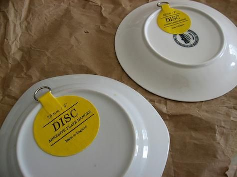 great idea to hang plates & Accessories: Plates Displayed Backward | Plate hangers Adhesive and ...