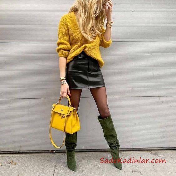 2019 Sokak Modası Siyah Kısa Deri Etek Sarı Uzun Kol Salaş Kazak Yeşil Uzun Topuklu Nubuk Çizme