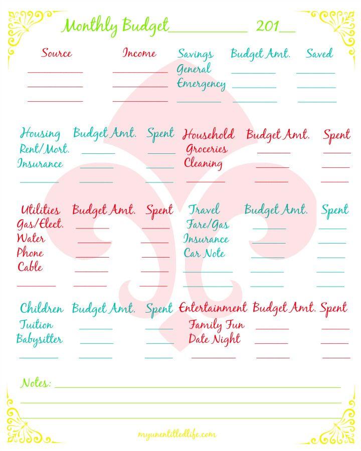 household budget free printable budgeting tools DIY Pinterest
