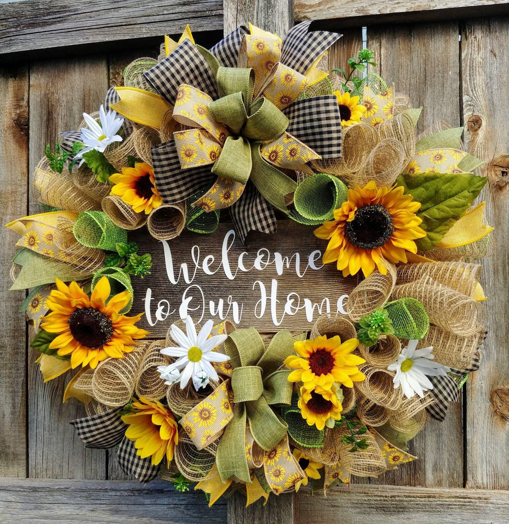 Photo of Sunflower wreath, welcome wreath, summer wreath, welcome to our home wreath, sunflower burlap wreath, sunflower welcome wreath