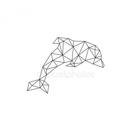 Modelo Poligonal Del Triangulo Estilizado Delfin Ilustracion De Stock Arte De Geometria Edredon Geometrico Dibujo Geometrico
