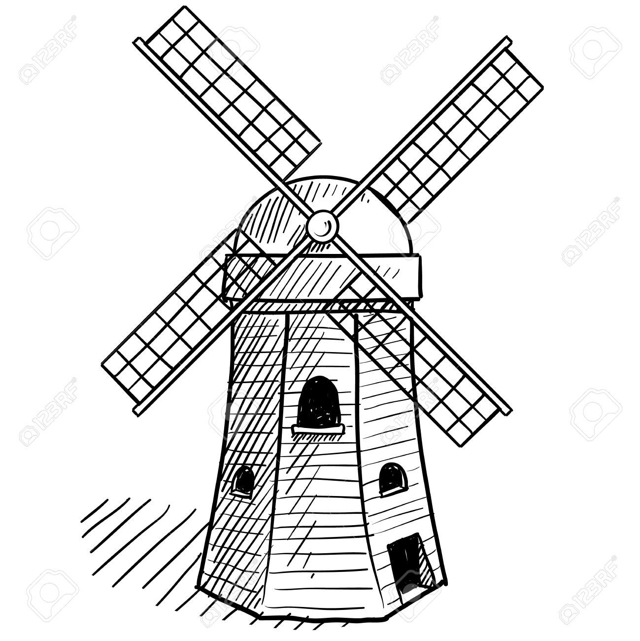 dutch windmill coloring pages - photo#29