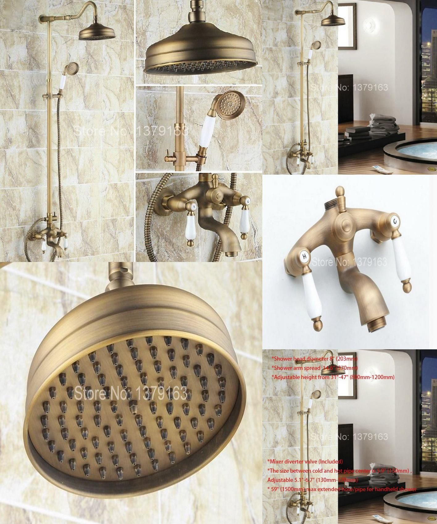 Visit to Buy] Luxury Bathroom Rain Shower Faucet Set Antique Brass ...