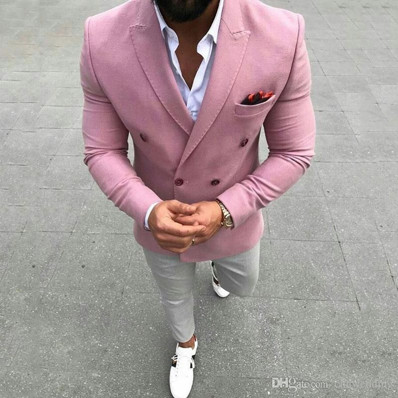Summer Pink Men Suits for Wedding Groom Tuxedos Peaked Lapel Man Prom Blazer Casual Terno Masculino Slim Fit Costume Homme 2Piece Coat Pants #menssuits