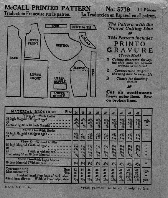 Uncut Vintage 1920s Mccall Sewing Pattern 5719 Fancy Flapper Drop