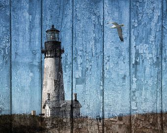 Rustic Lighthouse Home Decor Picture, Seagull, Beach, Coastal, Cottage.  Blue Brown