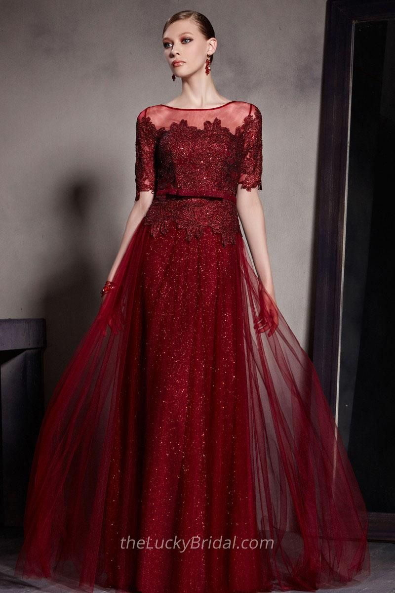 305864107ef3 Illusion Neck Embroidered Lace Bodice Half Sleeves Long Red Evening Dress