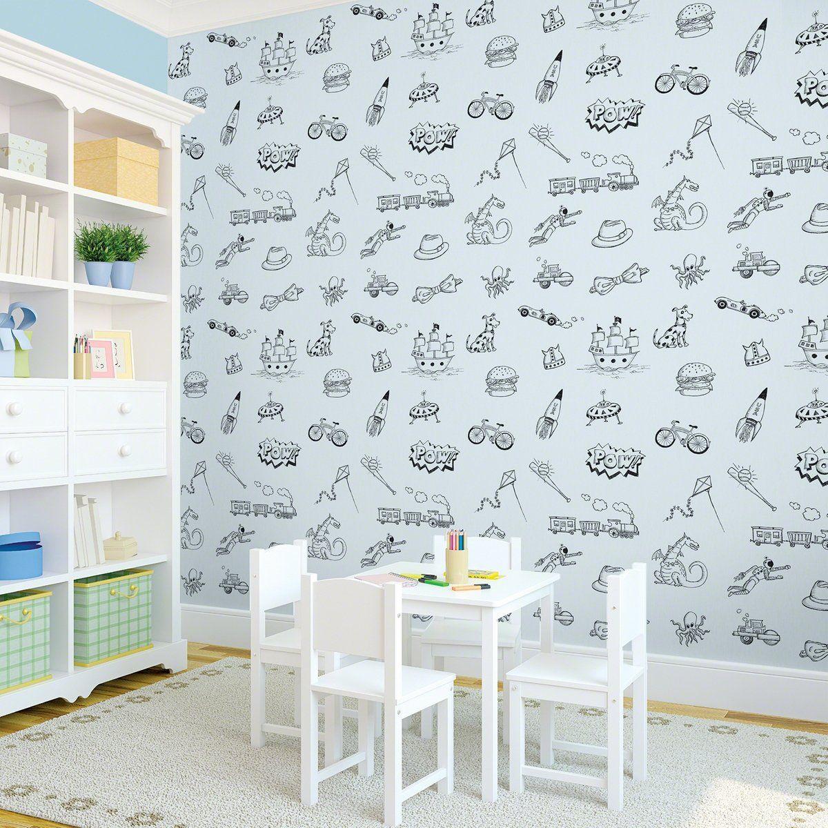 Doodle Blue Black Removable Kids Wallpaper Removable Wallpaper Wallpaper Walls Bedroom Kids Wallpaper