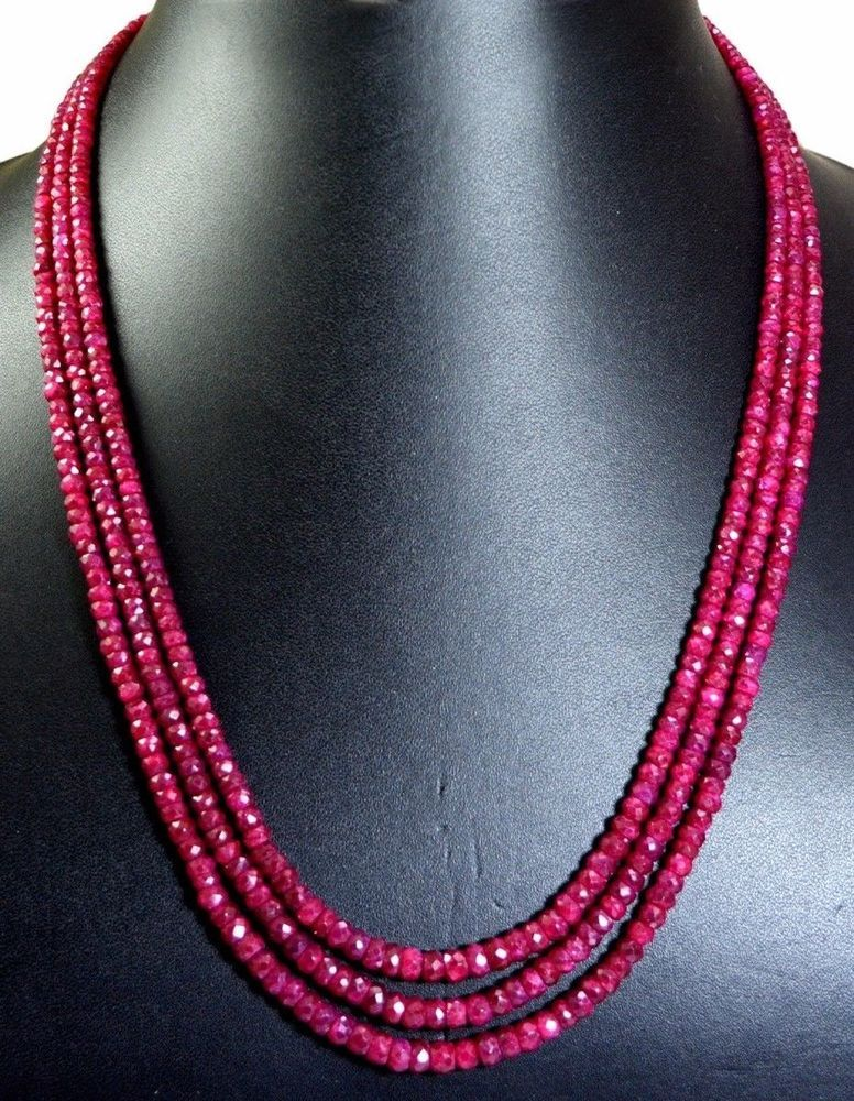 Shaded Beaded Ruby Jewellery Set Ruby Necklace and Bracelet Set Ruby Bracelet Natural Raw Stones Jewellery Beaded Gemstone Necklace