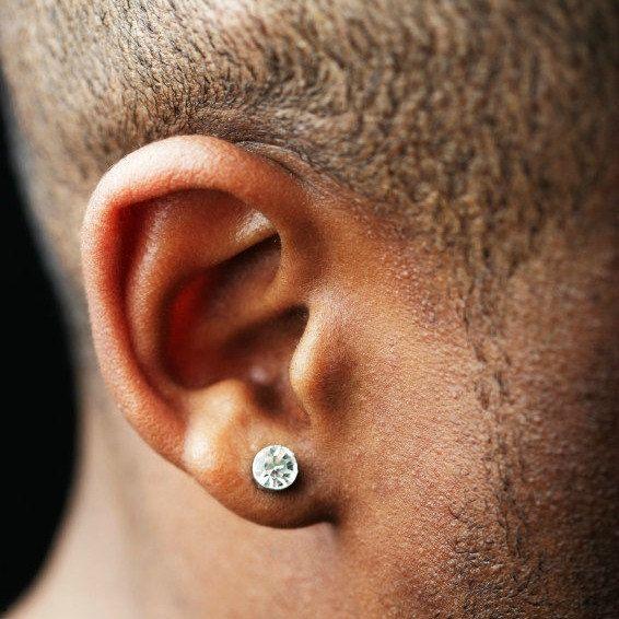 Mens diamond earrings, black stud earrings for guys, post ...