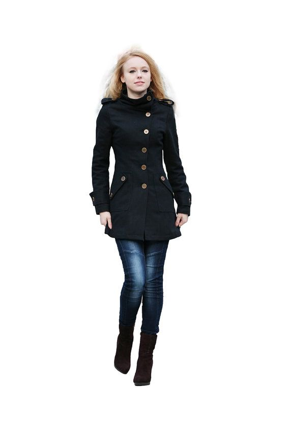 Black Coat Fitted Military Jacket Winter Wool by Sophiaclothing, $ ...