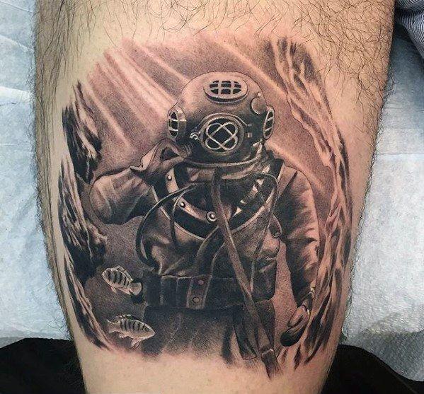 60 Diver Tattoo Designs For Men - Underwater Ink Ideas