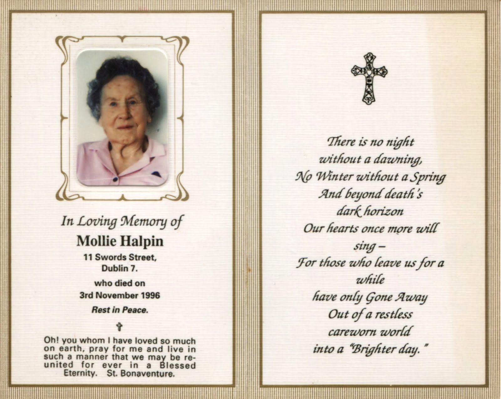 In Loving Memory Cards Unique Memorial Card Quotes Monzarglauf Verband Memorial Cards For Funeral Memorial Cards Funeral Templates Free