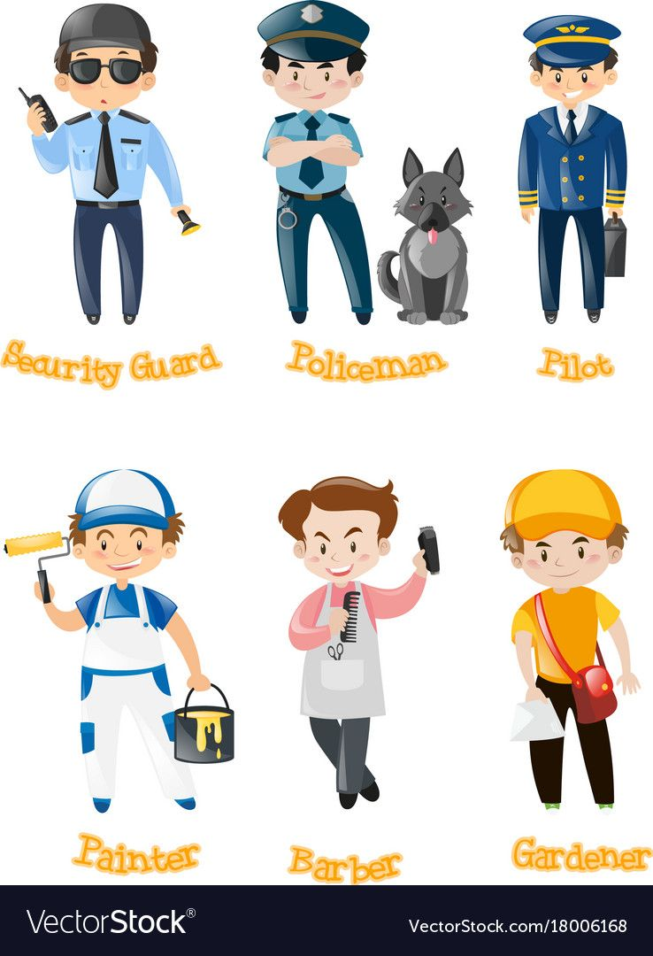 Men doing different kinds of jobs vector image on