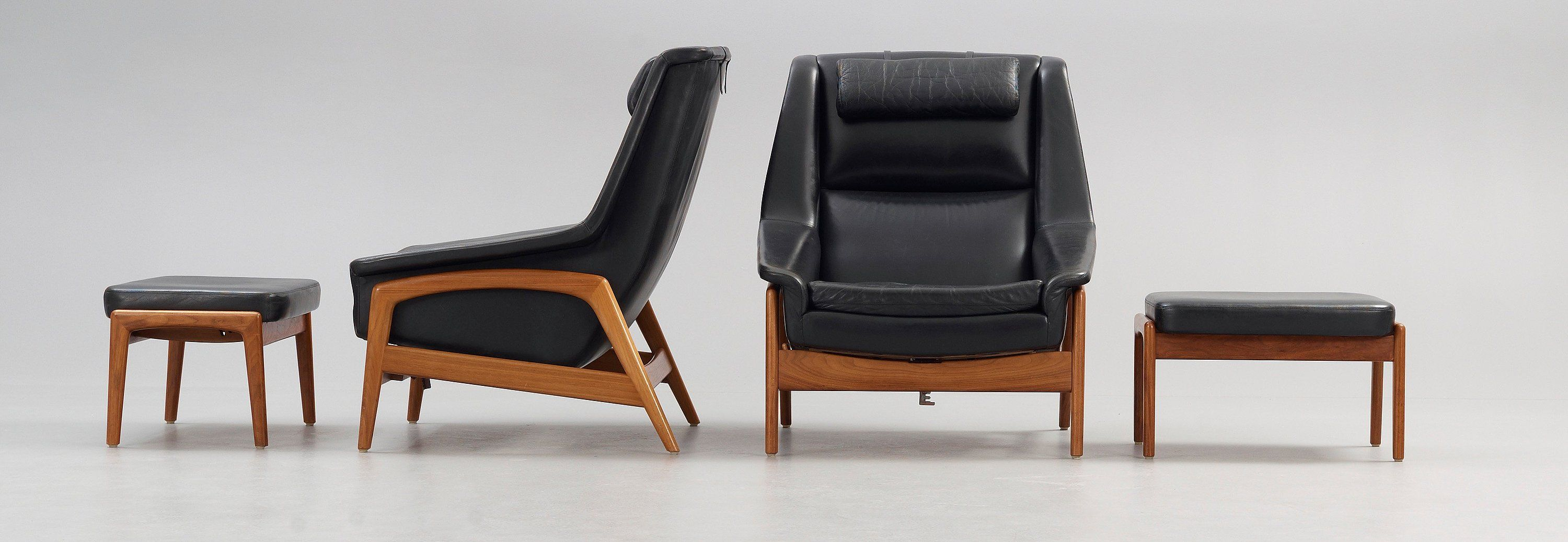 A Pair Of Folke Ohlsson Teak And Black Leather Lounge
