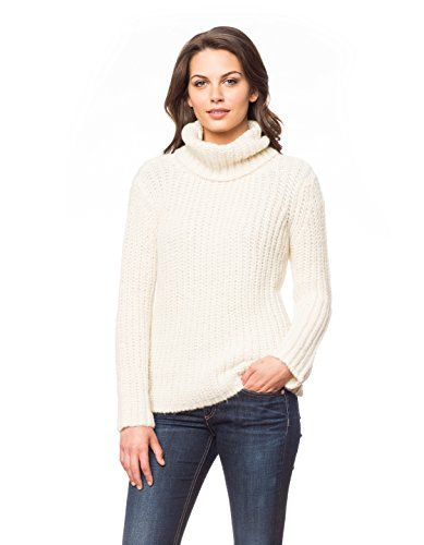 Womens 100 Brushed Baby Alpaca Ivory Turtleneck Pullover  Small * Details can be found by clicking on the image.