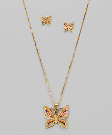Take a look at this Mother-of-Pearl & Gold Butterfly Pendant Necklace & Earrings by Regal Steel on #zulily today!