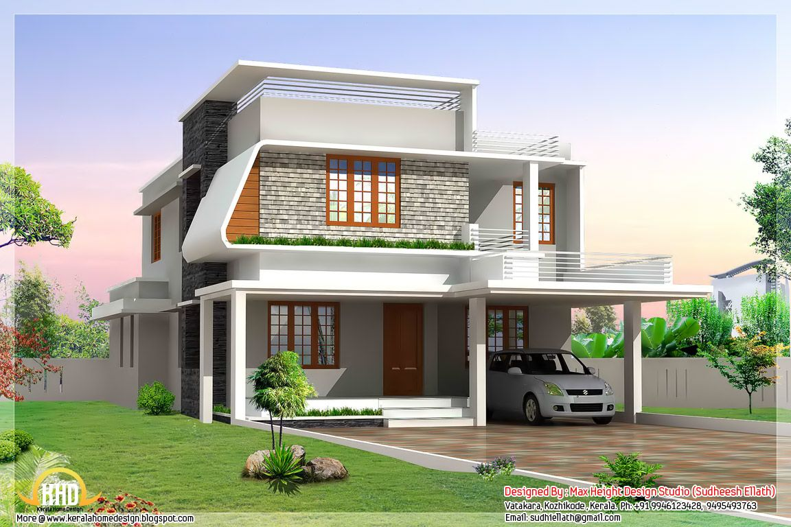 Contemporary house plans beautiful modern home elevations indian home decor architecture - Contemporary home ...