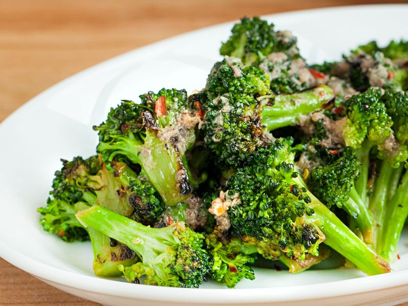 Seared Broccoli with Anchovy Vinaigrette  by tastingtable as adapted from Maria Hines  #Broccoli