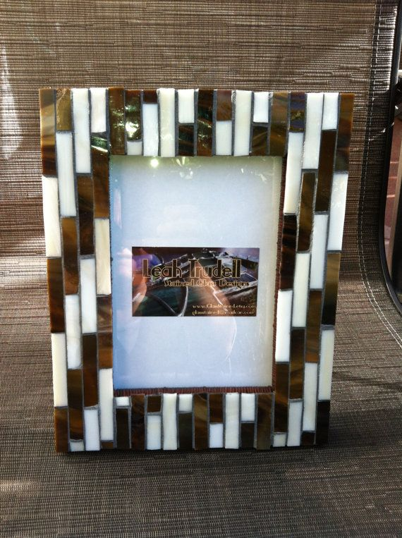 Coffee & Cream Art deco stained glass mosaic picture frame 4x6