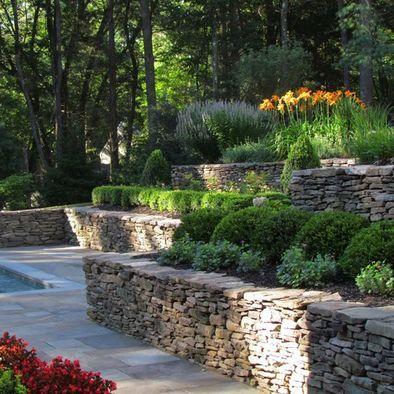 Layered Shrubs Lavender Stone Wall 3 Jardin En Pente