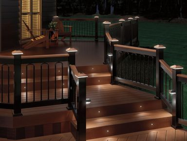 Black Aluminum Railing With Tropical Hardwood Cap Rail, Black Classic  Balusters With Arched Duo Connectors, Black Solar Post And Stair Lights, ... Amazing Pictures