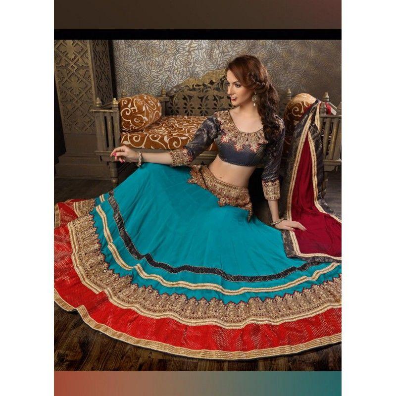 Georgette Blue Lehenga Choli Dress Material - 67622