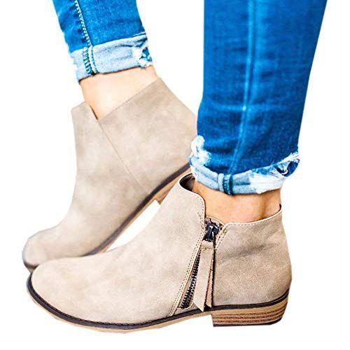 0b282a7d2a1 Boots Femme Daim Bottine Femmes Plates Basse Cuir Bottes Chelsea Chic  Compensées Grande Taille Talon Chaussures 2.5cm Beige Gris Noir 35-43 BG40