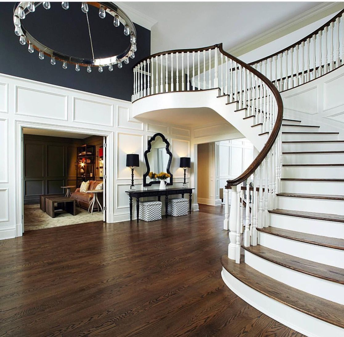 Love The Trim And Contrasting Paint On The Two Story Foyer