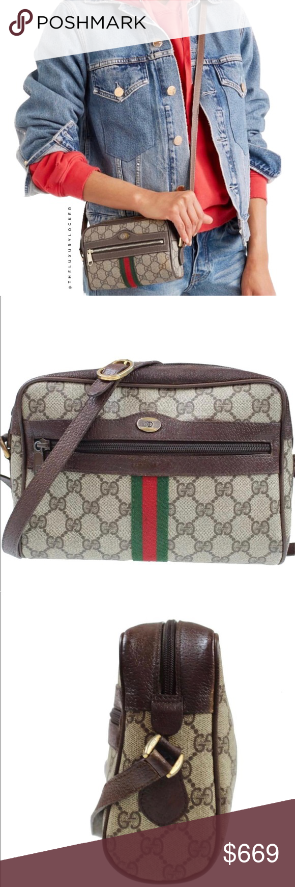 8a7063652f77e2 GUCCI GG WEB OPHIDIA STYLE CAMERA BAG Beautiful vintage GUCCI supreme  camera bag with web detail