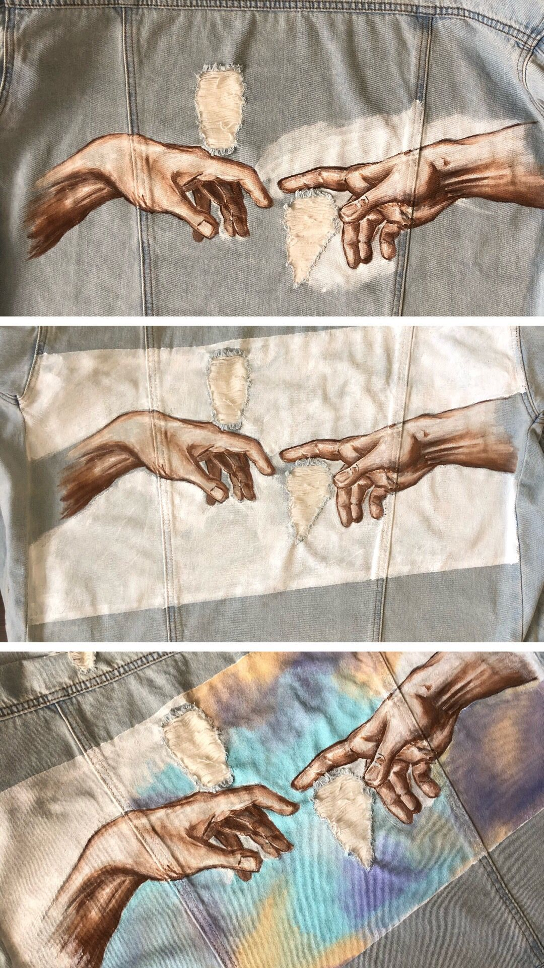 Hands Almost Touching Painting : hands, almost, touching, painting, Painted, Custom, Denim, Jacket, Michelangelo, Creation, Hands, Peonies, Jacket,