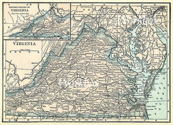 Vintage Map Of Virginia And Chesapeake Bay And Delaware Printable - Vintage map of virginia