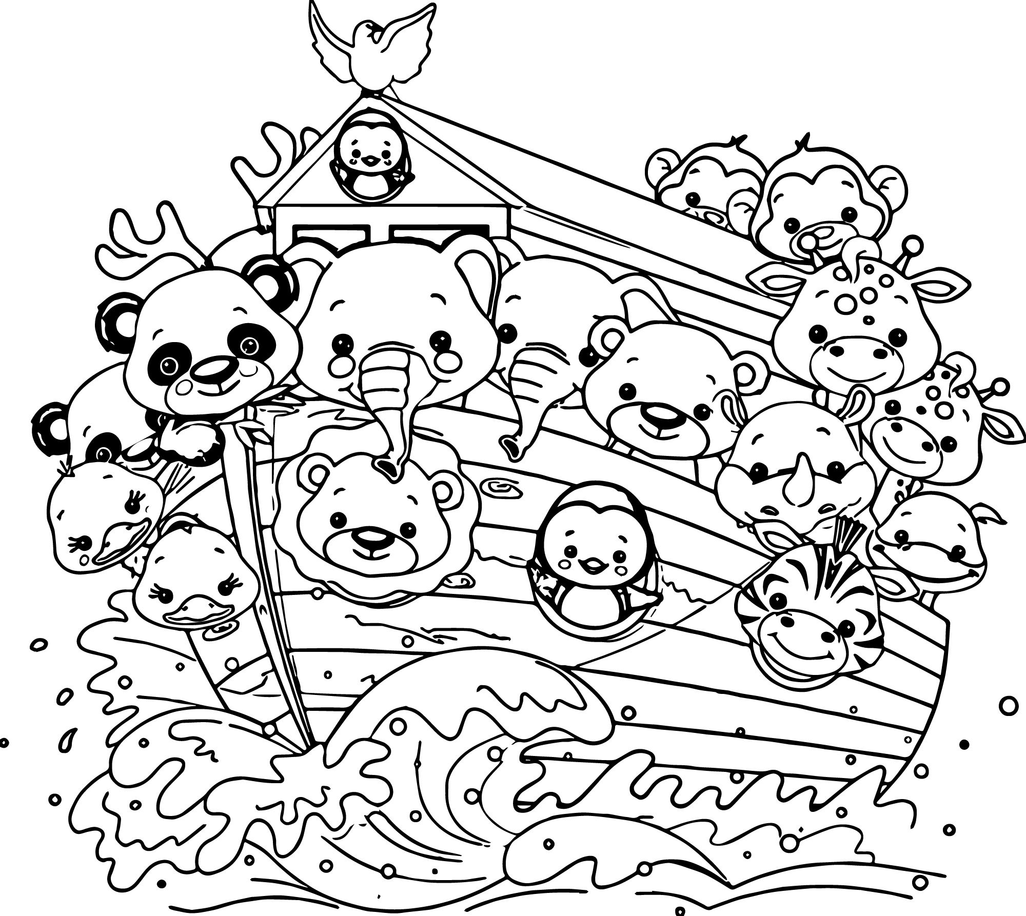Nice Noah S Ark Cartoon Coloring Pages