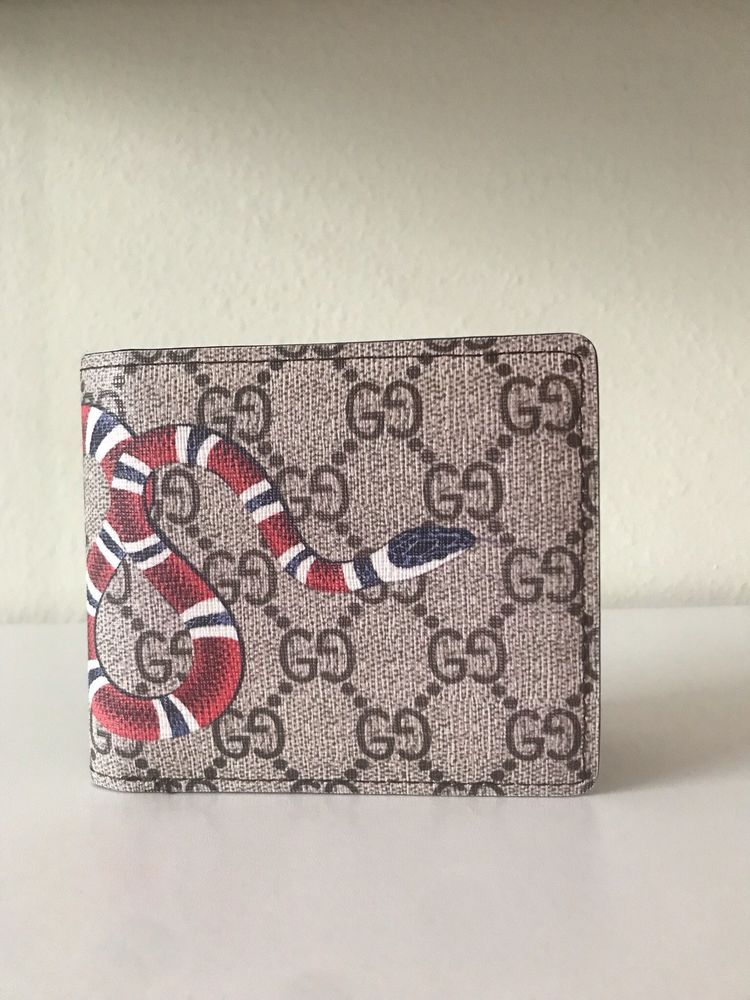 63e0be05819 New Gucci Mens Kingsnake print GG Supreme Bi fold Wallet  fashion  clothing   shoes  accessories  mensaccessories  wallets (ebay link)